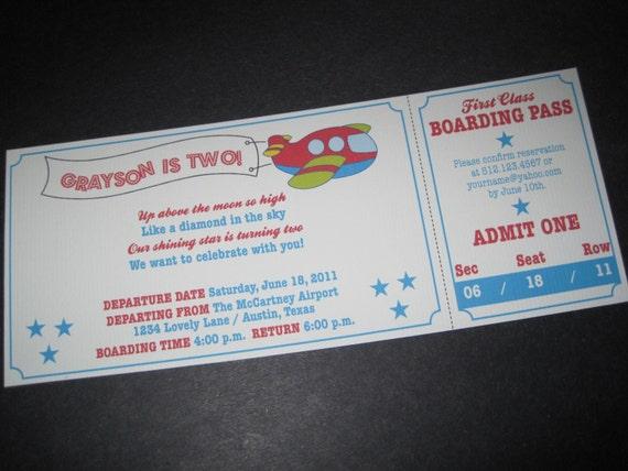 Plane Boarding Pass Invitation