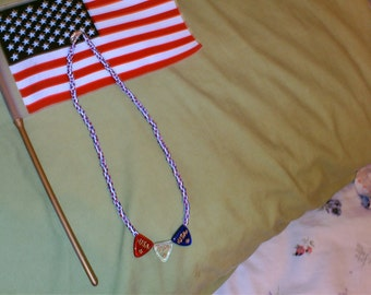 saluting the red,white,and blue necklace
