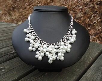 Julia: Icicle Necklace, Bib Necklace, Swarovski Pearls, Wedding Necklace, Bridal Necklace, Bridesmaid Gift
