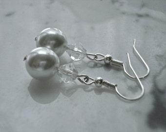 Taylor: Swarovski Pearl Bridal Earrings