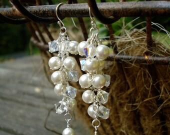 Alice - Bridal Earrings: Swarovski Pearls and Crystals