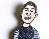 Upcycled  Paper Doll Magnet - Dexter