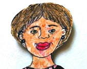 Mom Paper Doll Magnet - Esther. Print Mounted on Recycled Cardboard