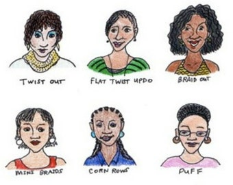 Natural Hair Styles African American Women (8 x 10) Giclee Colored Pencil and Marker