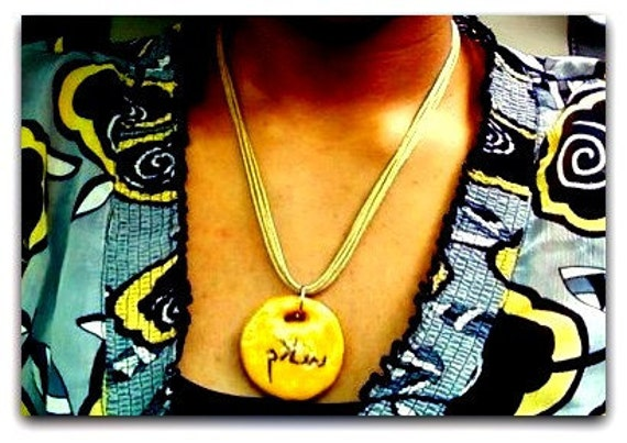Salam  Peace Necklace Polymer Clay - Arabic