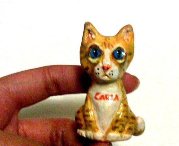 Custom Cat Sculpture Polymer Clay - Pet Totem