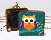 Little Owl Tile Locket, Necklace Pendant, with free chain and gift box