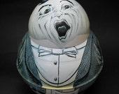 Vintage Opera Singer Tobacco Tin - Roly Poly Dixie Cut Plug - Weird, Funny Figural Jar w Dapper Tuxedo Fat Man - Bristol Ware Singer Brownie