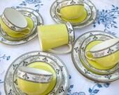 Sunny Yellow Vintage Art Deco 20s Collingwoods Tea Trio Set - Dainty Elegant Cheerful Spring Porcelain China Teacups, Plates, Creamer, Bowl