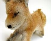 Rare Vintage Steiff Fox Mohair Stuffed Animal Toy - Xorry Miniature Desert Fox Discontinued 40s 50s Tiny Small Cute Running Glass Eyes Red
