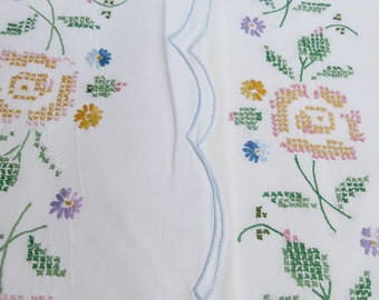 Vintage Cross Stitch Cotton Pillowcases - Yellow & Pink Embroidered Roses Scalloped Hem Daisies Embroidery Boho Country Cottage Pair Set Two