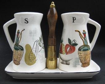 Eames Vintage 50s Salt & Pepper Shaker Set - Royal Sealy Midcentury Atomic Japanese Funky Kitchen Decor Food Illustration Graphic