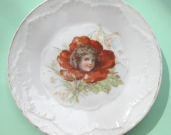 Antique Victorian Flower Girl China Plate - Transferware Whimsical Wonderland Poppy Rose - Quirky Fancy Unusual Embossed Mad Tea Porcelain