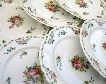 Antique Dresden Meissen Style Hand Painted Porcelain Plates - Easter Tea Party Spring Garden Delicate Dainty Floral China Peony Flower Rose