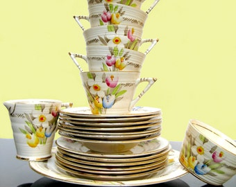 Art Deco Vintage China Teacup Trio - Spring Crocus Tulip Tea Cups Streamline Hand Painted Gatsby China Phoenix Ware Bouquet Thomas Forester
