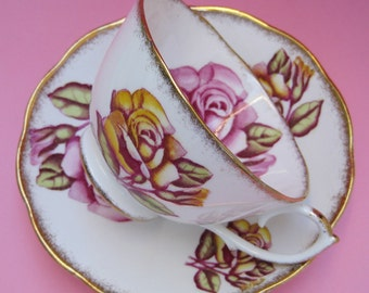 Vintage 40s China Teacup & Saucer - Roslyn Rose Magenta Pink Saffron Yellow - Romantic Nostalgia Transferware Flower Old Sweet Tea Cup Party