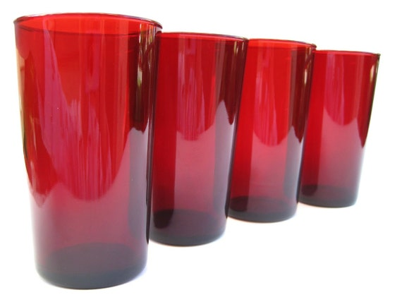 Strawberry Red Vintage Ruby Glass Tumblers By Aquamarinedream