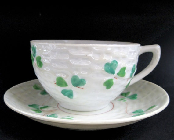 Sweet Faux Belleek Vintage Art Deco Clover China Teacup - Shamrock Basketweave Whimsical St Patrick Day Tea Cup Porcelain Country Kitchen