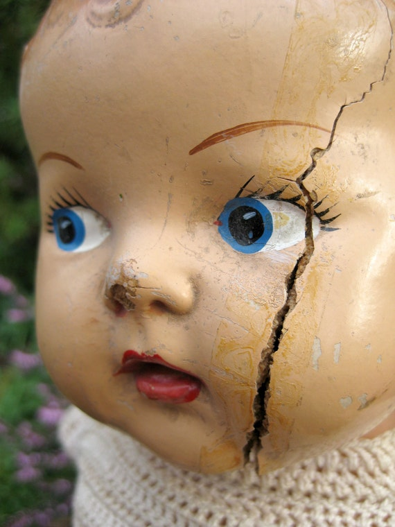 Sweet Weathered Composition Doll - Cracked-Up Cam Vintage Antique Shabby Chic Mid Century Baby Child Dolly - Halloween Decor