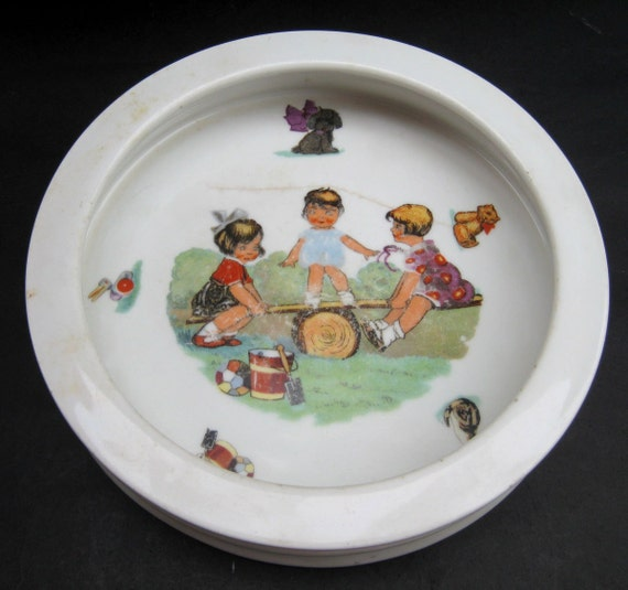 Sweet Art Deco Antique Porcelain Baby Plate - Vintage Transferware Child's Dish - Colorful Babies Teeter Totter Playground Toys Animals