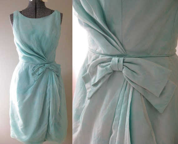 Aquamarine Dream - Aqua Mint Vintage 50s Cocktail Party Dress - Organza Short Tulip Skirt Grecian Pleated Soft Pastel Easter Candy Turquoise