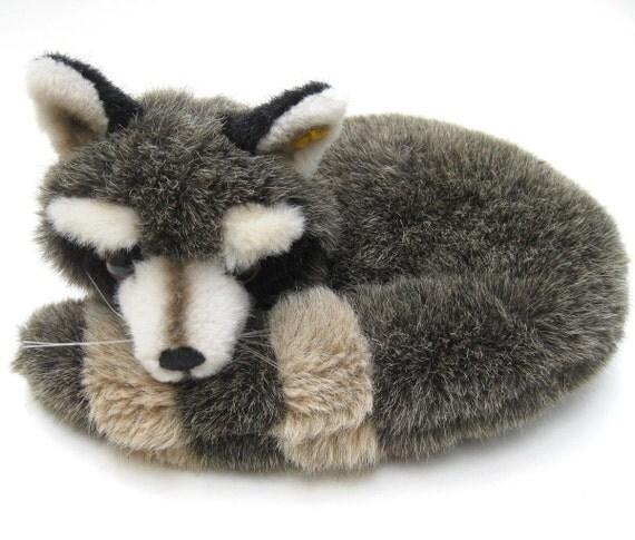 Vintage Steiff Raccoon Raggy Ringel Stuffed Animal Toy - Lying Curled Sleeping Furry Striped Cute Cuddly German Germany Collectible Wild Cub