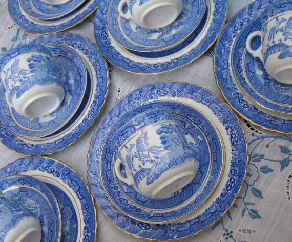 ON HOLD: Antique Victorian Blue Willow China Teacup Trios - Blue & White Asian Oriental Transferware Porcelain Tea Party Cup Saucer