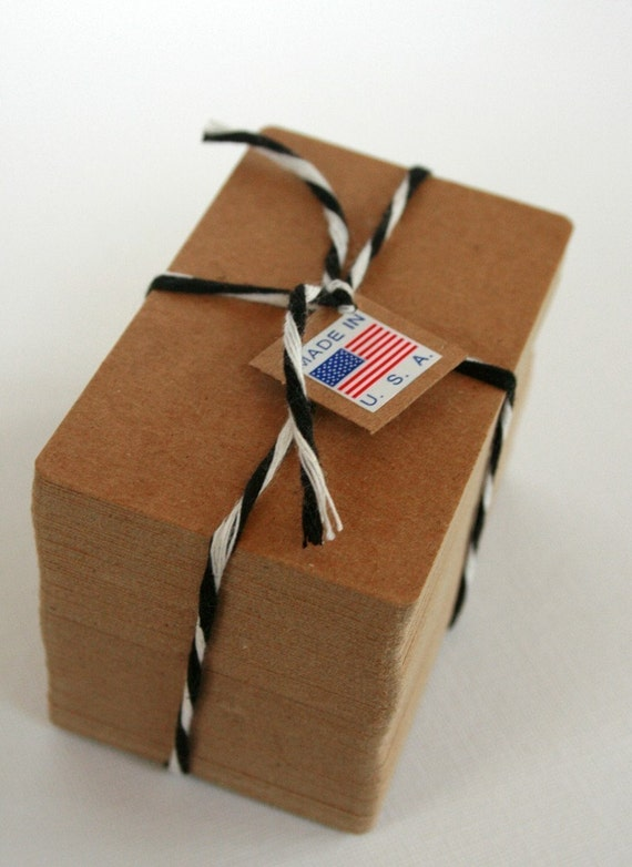 Business Card Size Heavy Kraft Recycled Chipboard Blanks - set of 50 - Crafting or Letterpress or Stamping