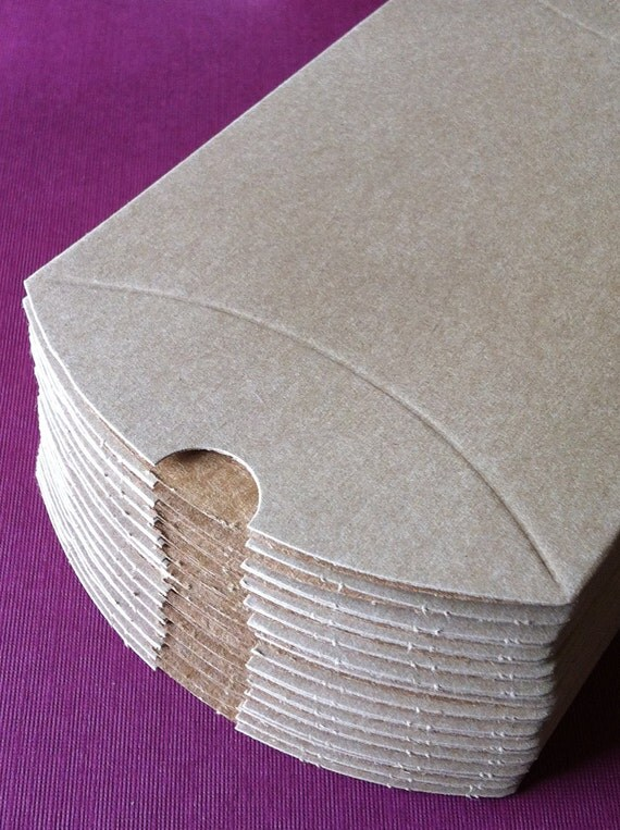 Set of 50 - Kraft Pillow Boxes - 4.5 x 4.5 x 1.5 Inches