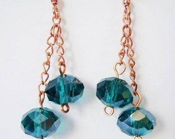 Teal and Copper Earrings, Teal Earrings, Copper Earrings, Copper Chain Earrings, Gift for Her, Crystal Drop Earrings, Teal Jewelry