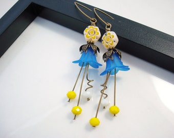 Flower Earrings, Bright Blue and Yellow Lucite Flower Earrings, Antique Brass Vintage Style