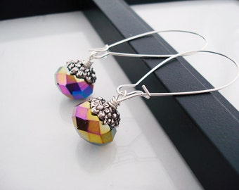 Rainbow Metallic Glass Beaded Earrings, Crystal Earrings