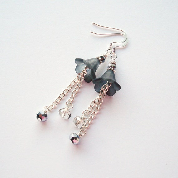 Lucite Flower Earrings, Gray and Silver Flower Earrings, Gray Flower Earrings, Gray Dangle Earrings, Free Shipping