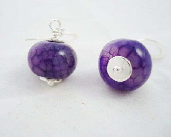 Silver and Purple Dragons Vein Agate Earrings