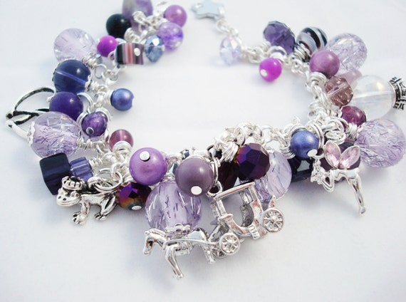 Purple Fairytale Charm Bracelet, Purple Beaded Bracelet, Cha Cha Bracelet, Fairytale Bracelet, Purple Bracelet, Free Shipping