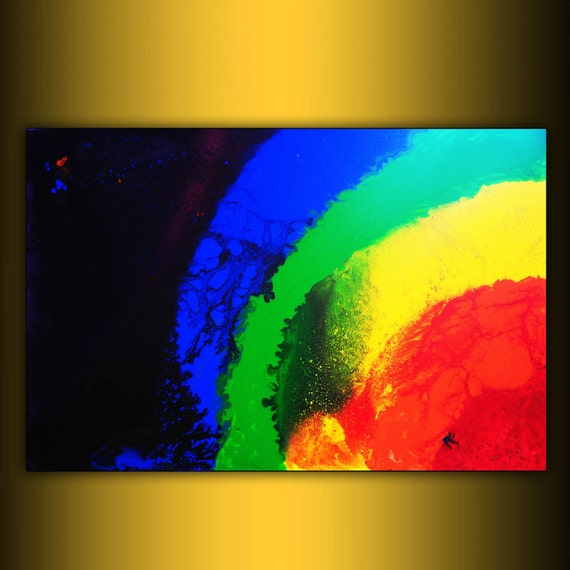 Original painting Abstract contemporary Art large free shipping rainbow acrylic stretched canvas