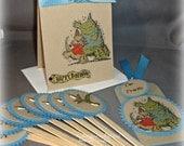 Dinosaur Birthday Invitation Party Set -- Dinosaur Cupcake Toppers -- Dinosaur Tag