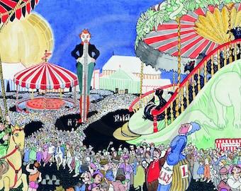 Day At The Fair, Circus, 1920s Print