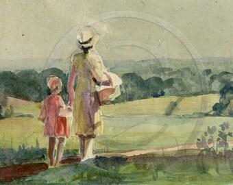 Mother and Daughter, Landscape, Summer Walk, Life, 1940s Art Print