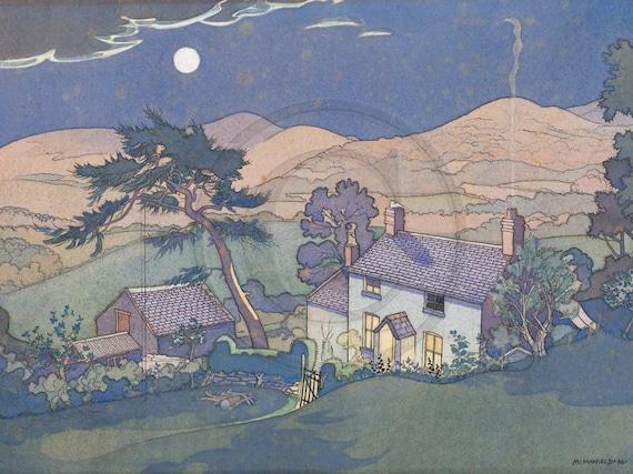 Welsh Cottage, Wales, Vintage Illustration 1950s Art Print