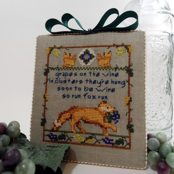 Fox and the Grapes Fabric Framed Picture