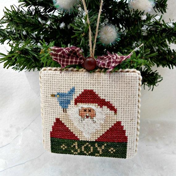 Country Primitive Santa Ornament