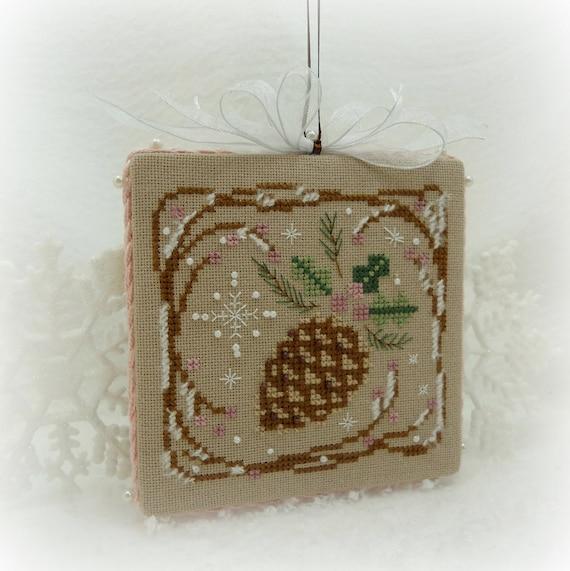 Hand Stitched Winter Pine Cone Ornament