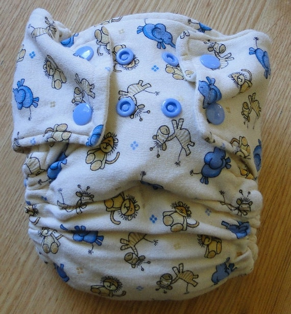 Baby Safari Cotton Flannel Fitted Cloth Diaper with Snaps Medium
