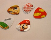 Video game themed upcycled guitar picks made from recycled materials - pack of 5