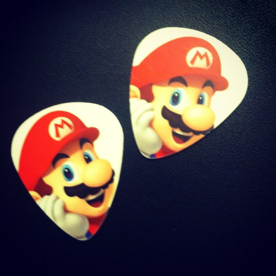 Nintendo Mario video game picks for guitar ukelele mandolin made from recycled plastic - set of two