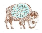 Star Bellied Bison gocco print