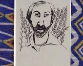 Walt Whitman gocco printed notecard