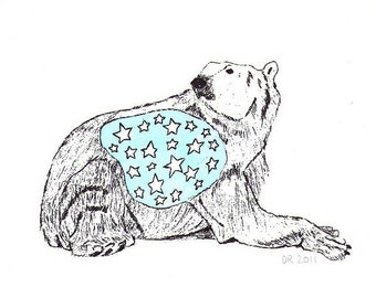 Star Bellied Bear gocco print