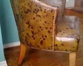Vintage Mid Century Chair Modern Retro Nail Head Tub Rare Spotted Vinyl Leather